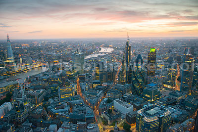 Aerial view of City of London at dusk