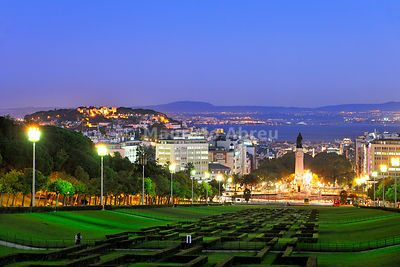 The panorama from the Eduardo VII Park at twilight. Lisbon, Portugal