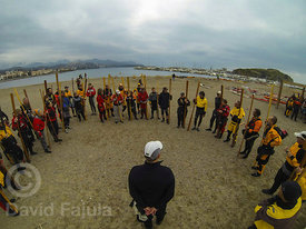 Professional kayaker Greg Stamer running a workshop at the Pagaia Symposium (Llancà) 2013 edition
