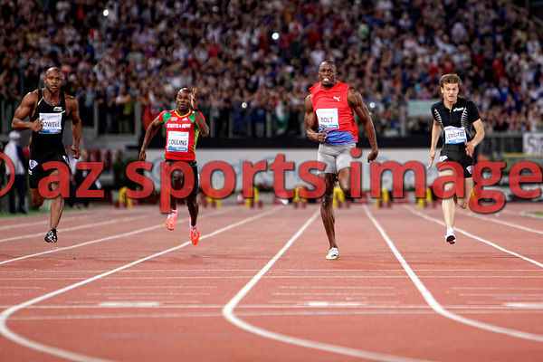 2012 Rome Golden Gala - Rome Diamond League 100m Mens Usain Bolt JAM wins the race 9.76sec ...Asafa Powell JAM second 9.91sec and 3rd place Christophe Lemaitre FRA 10.04 sec