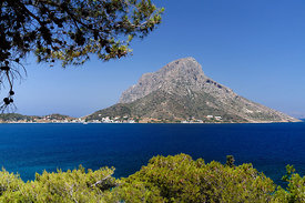 Telendos Island from Myrties, Kalymnos, Dodecanese Islands, Greece.