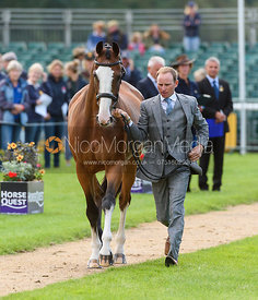 Michael Owen and BRADELEY LAW at the trot up, Land Rover Burghley Horse Trials 2018