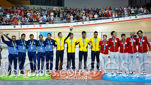 Men's Team Pursuit Podium. Track Day 4, Toronto 2015 Pan Am Games, Milton Pan Am/Parapan Am Velodrome, Milton, On; July 19, 2015