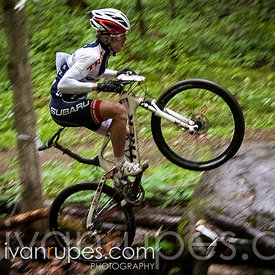 Peter Glassford (Trek Canada) showing off his technical skills at the Canada Cup Hardwood, Oro-Medonte, On, June 3, 2012