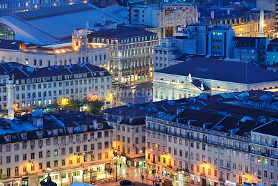 The Baixa district, the historical center of Lisbon, at twilight. Portugal