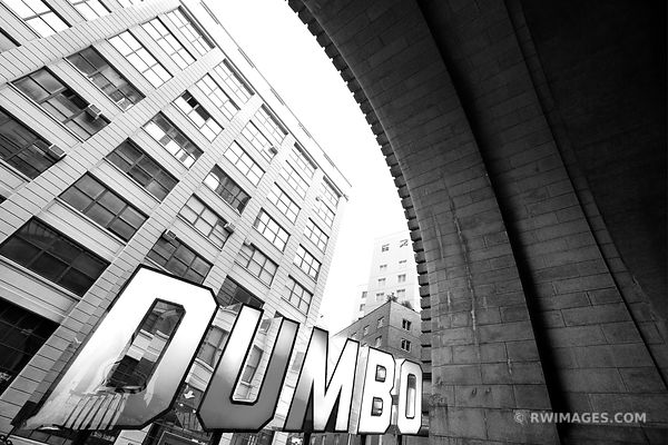 DUMBO BROOKLYN SIGN BROOKLYN NEW YORK BLACK AND WHITE