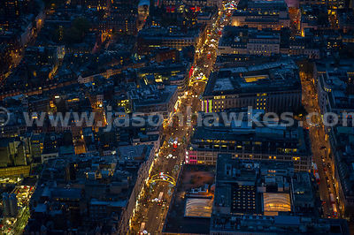 Aerial view of Christmas lights on Oxford Street at night, London