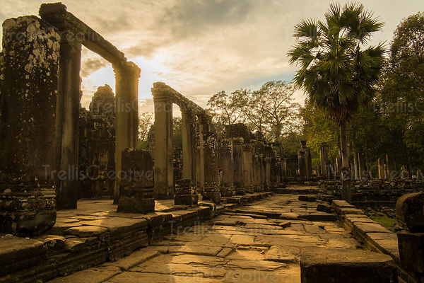 Ruins of columns at Angkor Wat, Cambodia