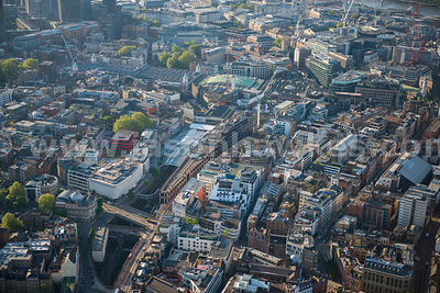 Aerial view of Farringdon Station, London