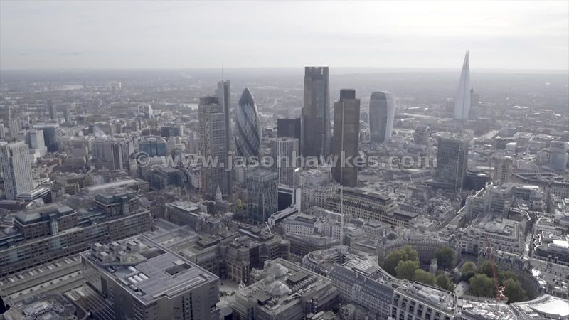 Aerial footage of the City of London