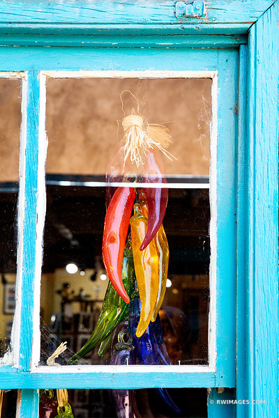 ORNAMENTAL GLASS PEPPERS WINDOW ALBUQUERQUE NEW MEXICO COLOR VERTICAL