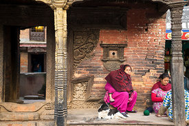 Women in in the ancient city of Bhaktapur in Khatmandu, Nepal.