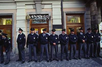 Czech Republic - Prague - Police protect a McDonalds restuarant.