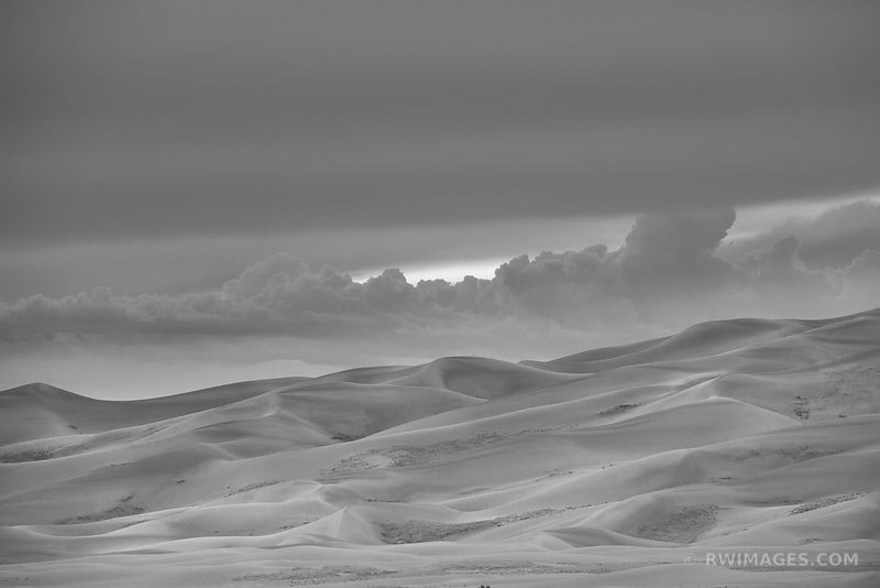 SUNSET GREAT SAND DUNES NATIONAL PARK COLORADO BLACK AND WHITE