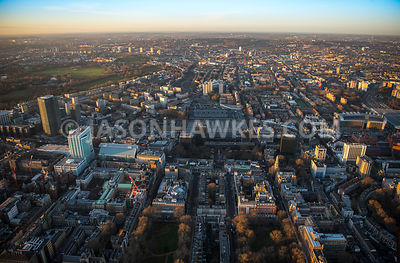 Aerial view of London, Euston Station with Euston Road and University College London, Somers Town.