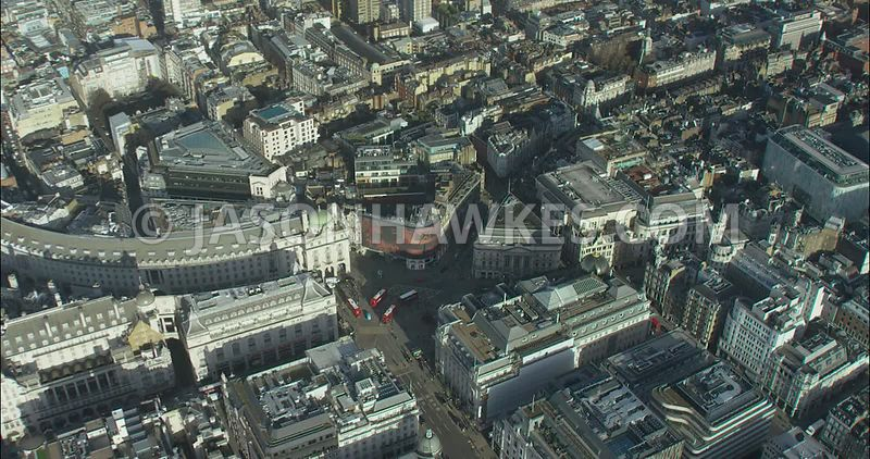 London Aerial footage, Piccadilly  Circus and St James's