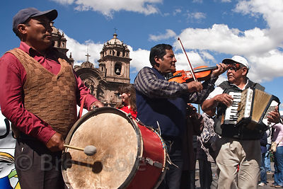 Musicians play during Cusco Week, Cusco, Peru