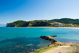 san stefano beach and old harbour, north west corfu, ionian islands, Greece