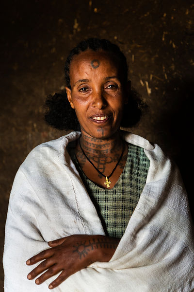 Portrait of an Amharic Woman with Tatooing
