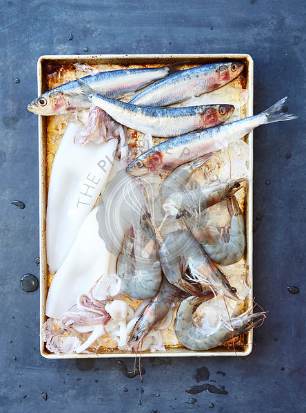 Fresh seafood on metal tray