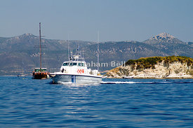 Greek Coastguard boat, Atherinos Bay, Meganisi Island, Lefkas, Greece.