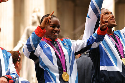 Gold Medallist Boxer Nicola Adams on the Athletes Victory Parade through London