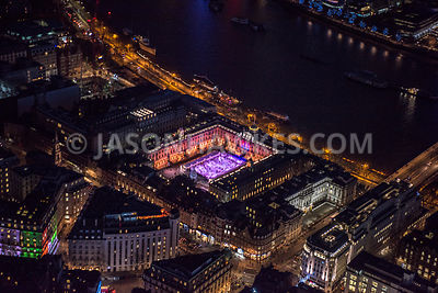 Aerial view of London  at night, Victoria Embankement at Waterloo Bridge, Strand