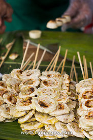 thailand street food, grilled banana snacks