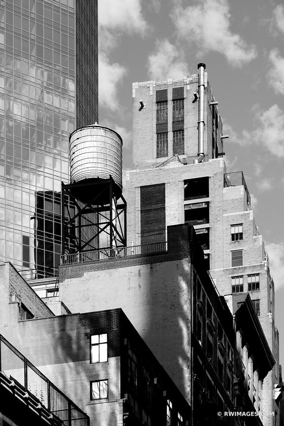 WATER TANK MANHATTAN NEW YORK CITY BLACK AND WHITE VERTICAL