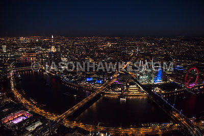 Aerial view of London, River Thames with Waterloo Bridge towards Royal Festival Hall and National Theatre.