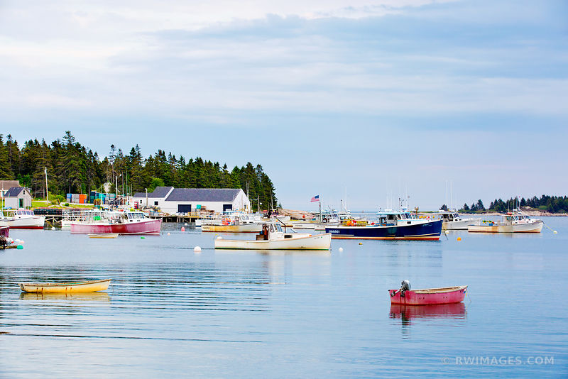 COREA MAINE LOBSTER BOATS IN HARBOR QUAINT FISHING VILLAGE NEAR ACADIA NATIONAL PARK MAINE