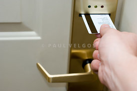 Hand Unlocking Hotel Keycard Door Lock