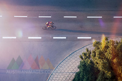 Racing cyclist on the street, drone photography