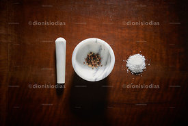 White marble pestle with seasonings
