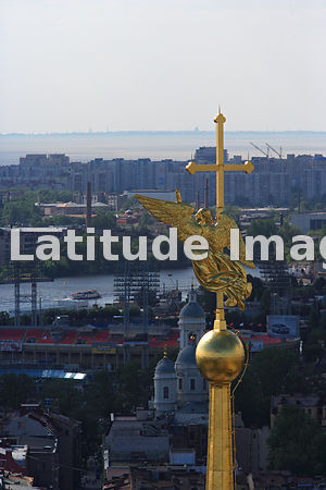 Angel on the cross of the spire of St Peter and Paul Cathedral in St Peter and Paul Fortress, St. Petersburg.