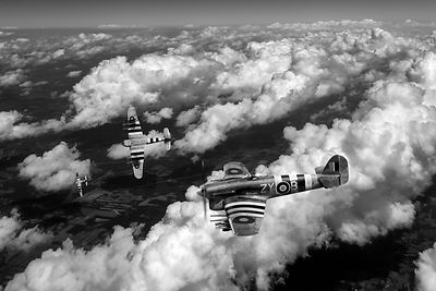 Hawker Typhoons diving black and white version