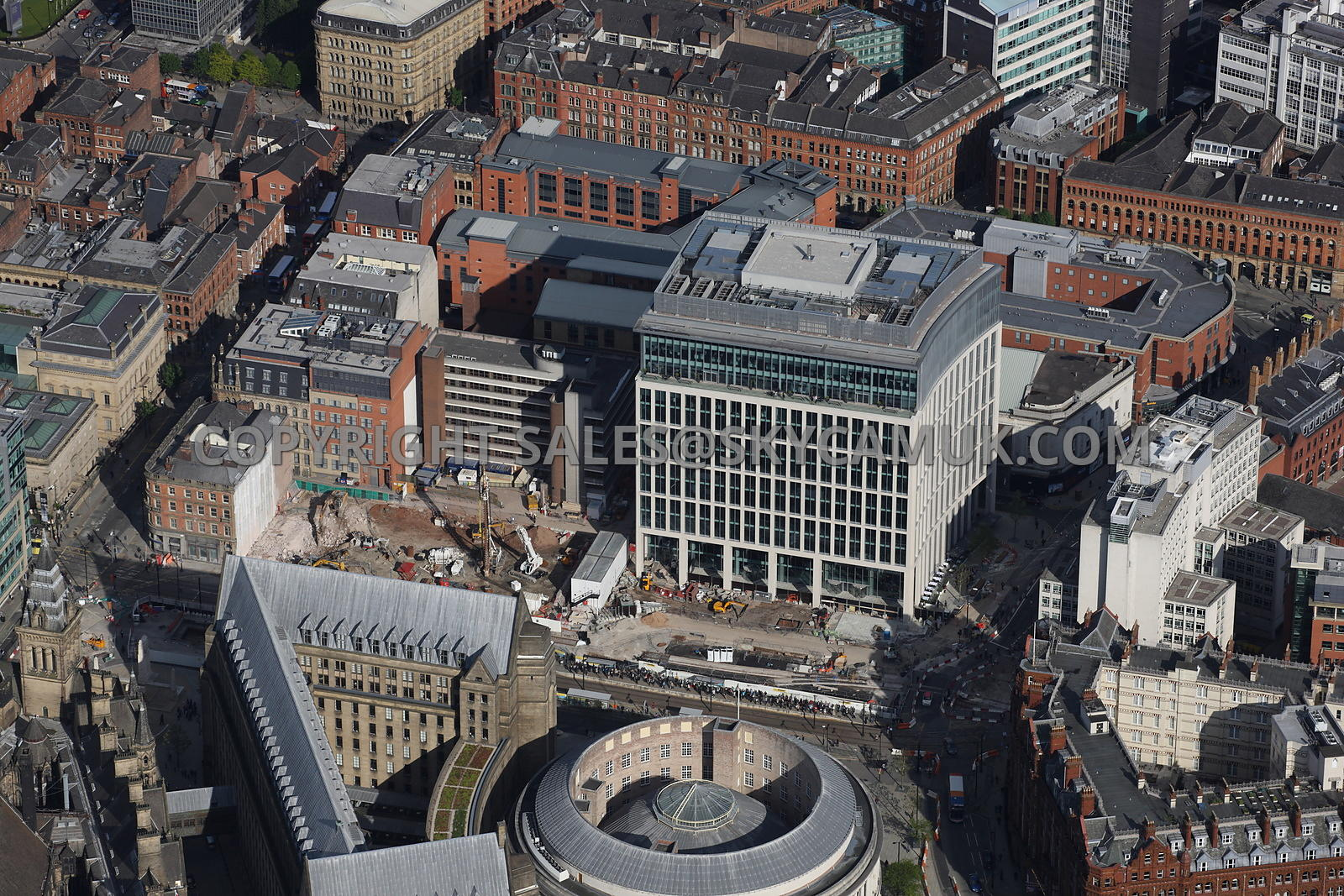 Manchester aerial photograph of the site of the demolished Century House Sussex House and Clarendon House and construction of the new offices One St Peters Square on Mosley Street Central Manchester