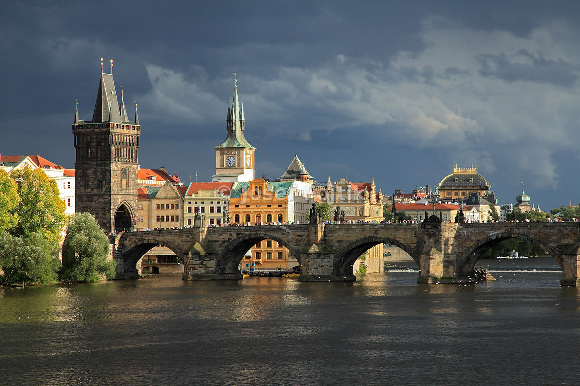 Charles Bridge on the Vltava River, Prague, Czech Republic
