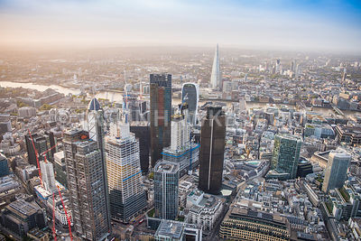 Aerial view of London, Tower 42 with City of London financial district and The Shard.