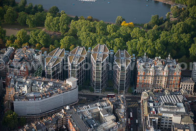Aerial view of One Hyde Park apartments, Knightsbridge, London