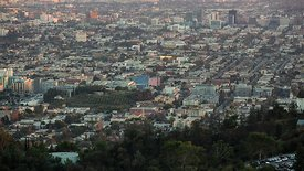 Bird's Eye: Panning Griffith Park Observatory Over A Sprawling Los Angeles (Day to Night)