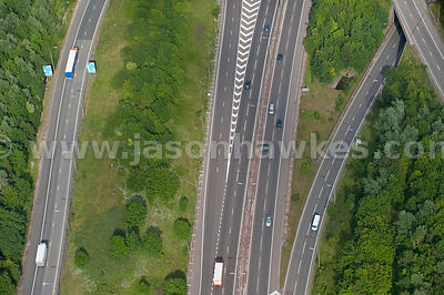 Aerial view onto motorway