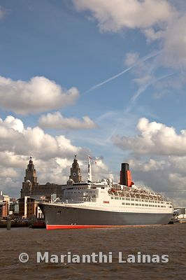 QE2 at Pier Head, Liverpool