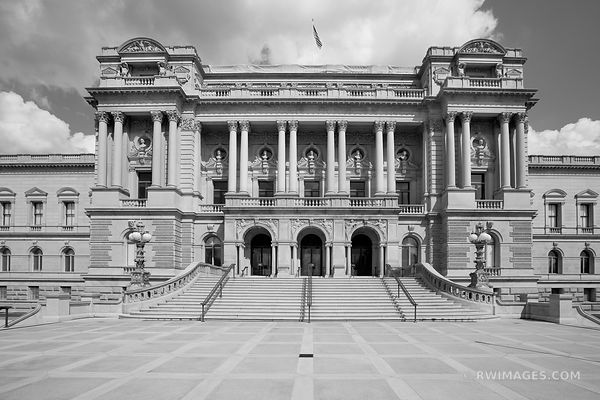 LIBRARY OF CONGRESS THOMAS JEFFERSON BUILDING WASHINGTON DC BLACK AND WHITE
