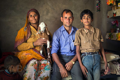 Farming family in their house, Kharekhari Village, Pushkar, Rajasthan, India