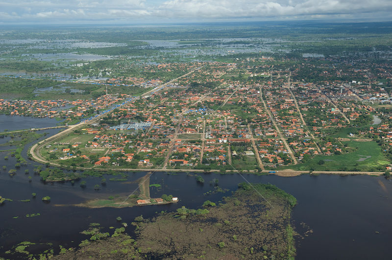 Aerial view of Trinidad city, capital of the Beni Department, during the 2008 flood of Mamoré River, Bolivia.