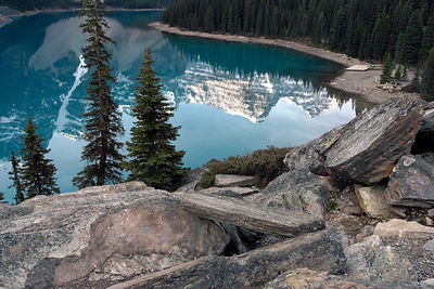 Reflections of the Ten Peaks in Moraine Lake, Banff National Park, Canadian Rockies.