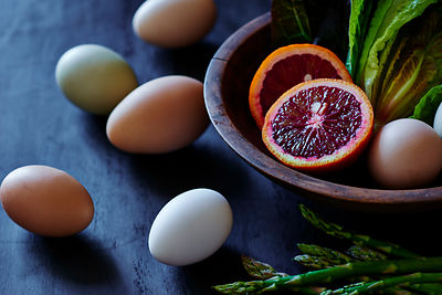 Eggs, Asparagus and Blood Orange Still Life