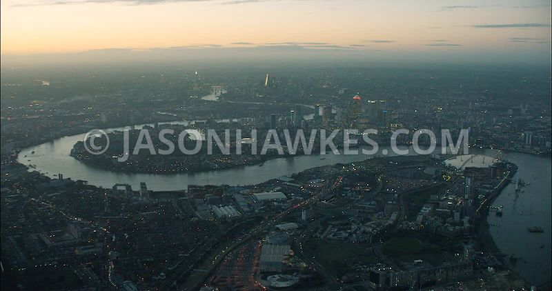 London Aerial Footage of Greenwich Peninsula towards Leamouth Peninsula.