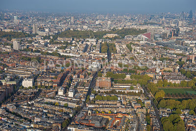 Aerial view over A3217 King's Road, Chelsea, Chelsea, Sloane Square, Cadogan Estates, Eaton Square, Belgravia, London.